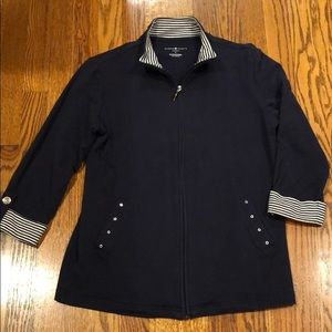 Fun Navy Casual Jacket with Stripe detail